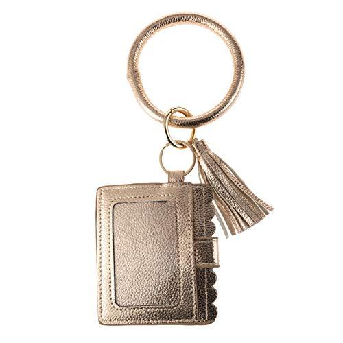 Schlüsselanhänger Geldbeutel Damen Tasche Schlüssel Armband Kunstleder Handtasche Geldbörse Kartenhalter mit Schlüsselring Armreif (Roségold)