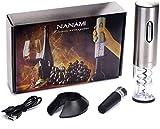 Sacacorchos Eléctrico Inalámbrico de NANAMI, Estuche con Cortador de Cápsulas y Base de Recarga, El regalo Ideal para los Amantes del Vino y la Enología