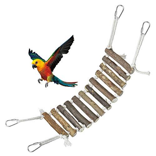 COCOCITY Papegojor träningsleksak, naturlig trästege med rep svängbro för kanariefin liten papegoja hamster råtta chinchilla bur abborre gunga leksak