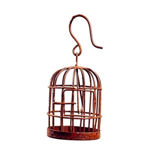 AAGOOD Iron Bird Cage Figurine Miniatur-Vogelkäfig-Modell Moss Micro Landschaft Harz-Fee-Garten-Dekoration Gartenzubehör