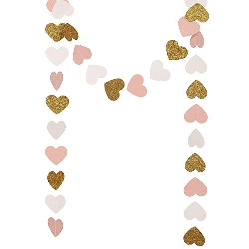 Demarkt Guirnalda de corazones con purpurina en forma de corazón, decoración para fiestas, bodas, cumpleaños, 3 m (forma A)