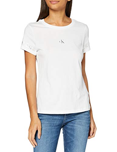 Calvin Klein Outline Logo tee Camisa, Blanco Brillante, XS para Mujer