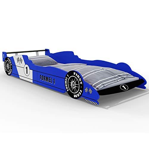Deuba Kinderbett Autobett Bett 200x90cm mit Lattenrost und Rausfallschutz MDF Holz Rennbett Kindermöbel Jugendbett Bettgestell blau