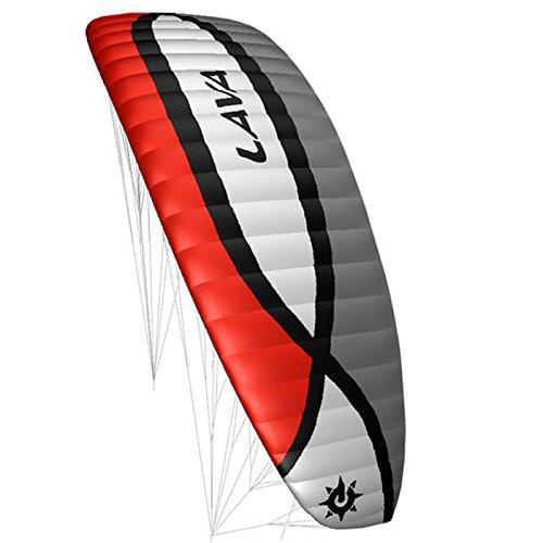 elliot 1010908 Elliot Lava III 7.0 Vierleiner-Lenkdrachen (Lenkmatte) , schwarz/weiß/grau/rot