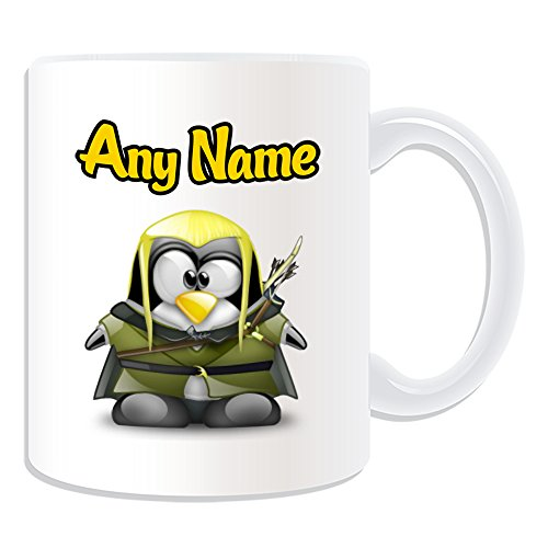 Personalised Gift - Legolas Mug (Penguin Film Character Design Theme, White) - Any Name / Message on Your Unique - Costume Movie Superhero Hero The Hobbit Lord of Rings Sindar Elf Woodland Realm Fellowship