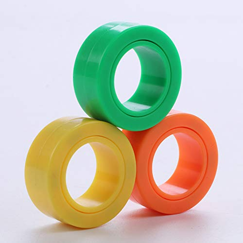Magnetic Rings, Stress Relief Toys, Decompression Relief Autism, Anxiety, Stress Toys, Training Relieves Stress Reducer 6 Pcs Set(yellow,green,Orange)