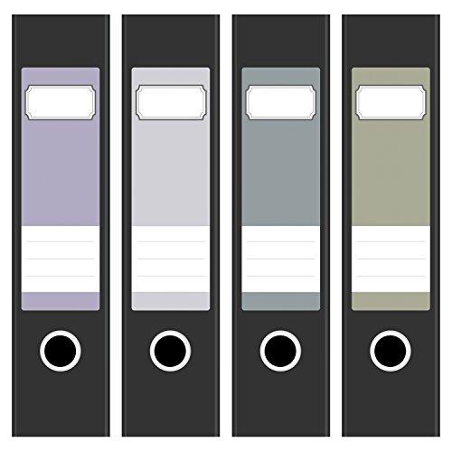 Ordneretiketten | 4 Aufkleber für breite Akten-Ordner | Farben-Mix Vintage Pastell | selbstklebende Design Akten-Etiketten | Deko Sticker für Rückenschilder Ordnerrücken | zum Beschreiben