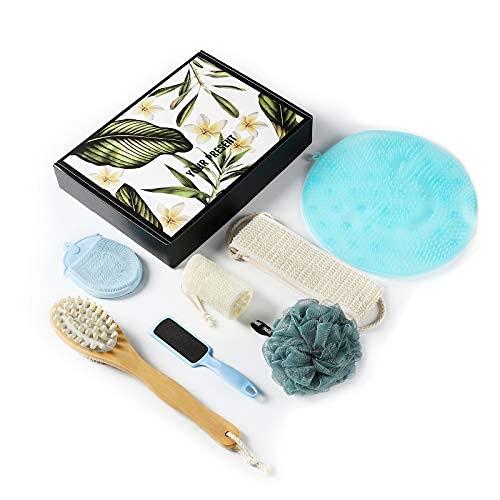Set de regalo de baño y cuerpo, esponja de pelo, depurador de espalda, cepillo exfoliante, cepillo seco, etc. 7 piezas..