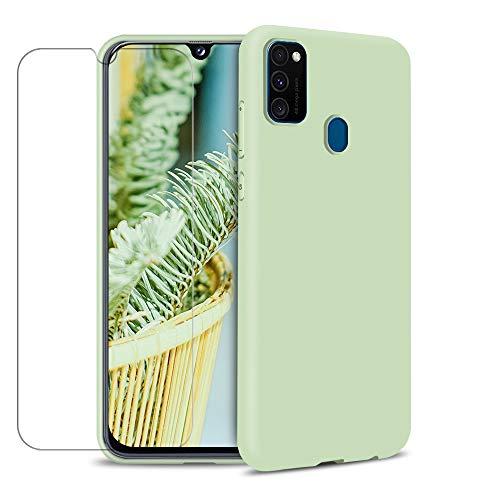 Funda para Samsung Galaxy M30s + Protector de Pantalla de Vidrio Templado, Carcasa Ultra Fino Suave Flexible Silicona Colores del Caramelo Protectora Caso Anti-rasguños Case - Menta Verde