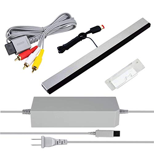 3 in 1 Wii AC Power Adapter + Composite Audio Video Cable and Wired Motion Sensor Bar for Nintendo Wii Wii U
