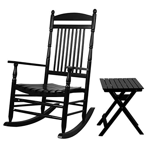 Caymus Solid Hardwood Outdoor Rocking Chair Country Plantation Porch Rocker Provide Comfortable Seating on Patio or Deck (2Chairs+1Table, Black)