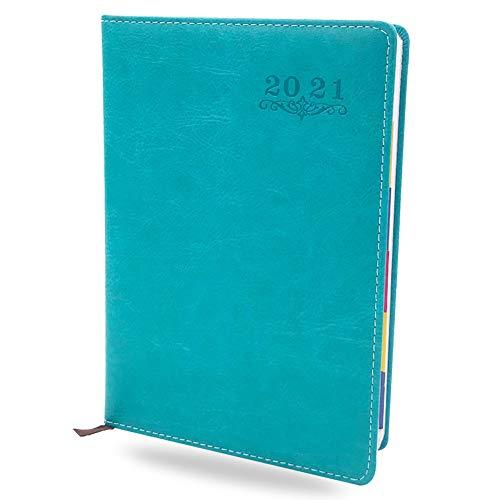 Agenda 2021 - YUESEN Calendario A5 Agenda escolar 2021 de 12 meses, Agenda Daily Hermosa planificador semanal de Enero a Dic 2021 para citas con resumen mensual(Azul)