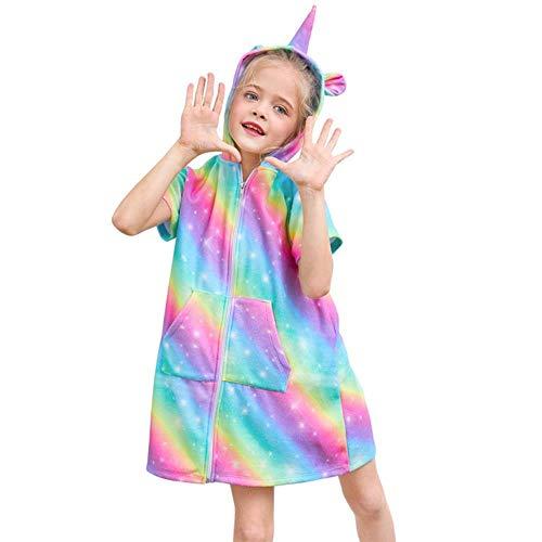 Gbcyp Leuke Kids Animal Badjas Home Kleding Patroon Hooded Strandlaken Kinderkleding Nachtkleding Met Rits, 01,10-12 jaar