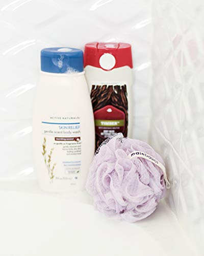 MainBasics Bath Shower Loofah Sponge Pouf Body Scrubber Exfoliator (Set of 3)