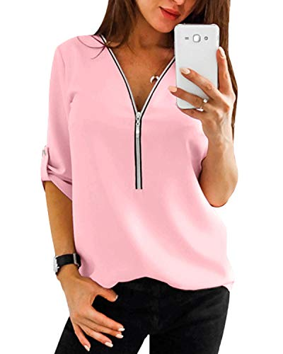 YOINS Sexy Oberteil Damen Sommer Elegante Langarmshirts Damen Bluse Tunika Frühling T-Shirt V-Ausschnitt Tops EU32-34 Rosa(größer Als Reguläre Größe) X-Small