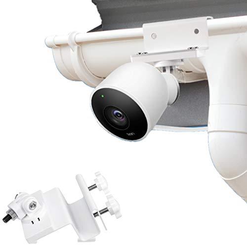 Wasserstein wetterfeste Regenrinnenhalterung kompatibel mit Nest Cam Outdoor mit Magnetadapter - Bester Blickwinkel für Ihre Überwachungskamera (weiß)