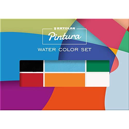 Kryolan Pintura Water Color Schminkset, 6 Farben, waschbar, vegan, ohne Parfüm, ohne Parabene, glutenfrei - ideal für Kinderschminke, Party, Karneval, Fasching, Halloween, LARP & Make-up Artists