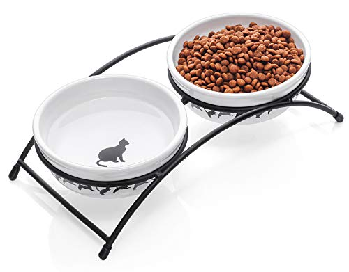Y YHY Cat Bowls Elevated, Cat Food Dish Raised, Tall Cat Bowls for Food and Water, Ceramic Pet Dishes for Cat or Dogs, Anti Vomiting, Whisker Fatigue, Dishwasher Safe, 12 Ounces