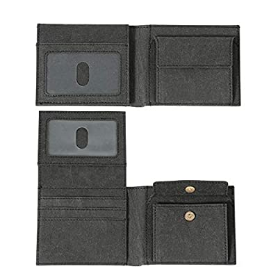 Mens Bifold Wallet with 2 ID Window and RFID Blocking, Hidden Coin Pocket, Credit Card Holders