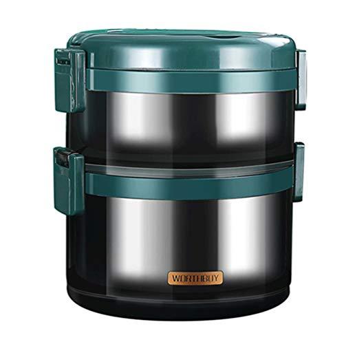 Cabilock Lancheira térmica 2 camadas Bento Box portátil isolada para transporte de alimentos para crianças e adultos