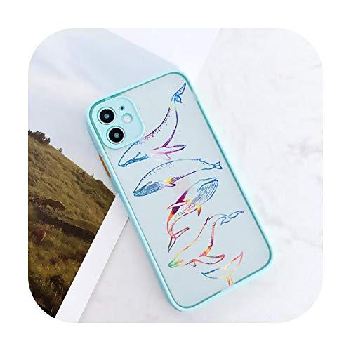 Whale Dolphin Cámara Protección Teléfono Carcasas Para iPhone 11 12 Pro Max XR XS Max X 8 7 6S Plus Mini Mate a prueba de golpes contraportada menta ballena para iPhone 7