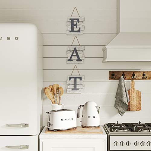 """Barnyard Designs Eat Sign Wall Decor, Rustic Farmhouse Decoration for Kitchen and Home, Decorative Hanging Wooden Letters, Country Wall Art, Distressed White/Grey, 24' x 8"""""""