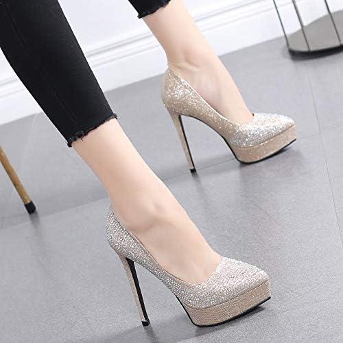 HRCxue Pumps Einzelne Schuhe Frauenschuhe Spitzen flachen Mund Schuhe Mode Strass Hochzeit Schuhe Stilett sexy High Heels