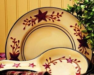 Market Street Berry Vine Ceramic Salad Plate - Primitive Star Country Dishes Dinnerware