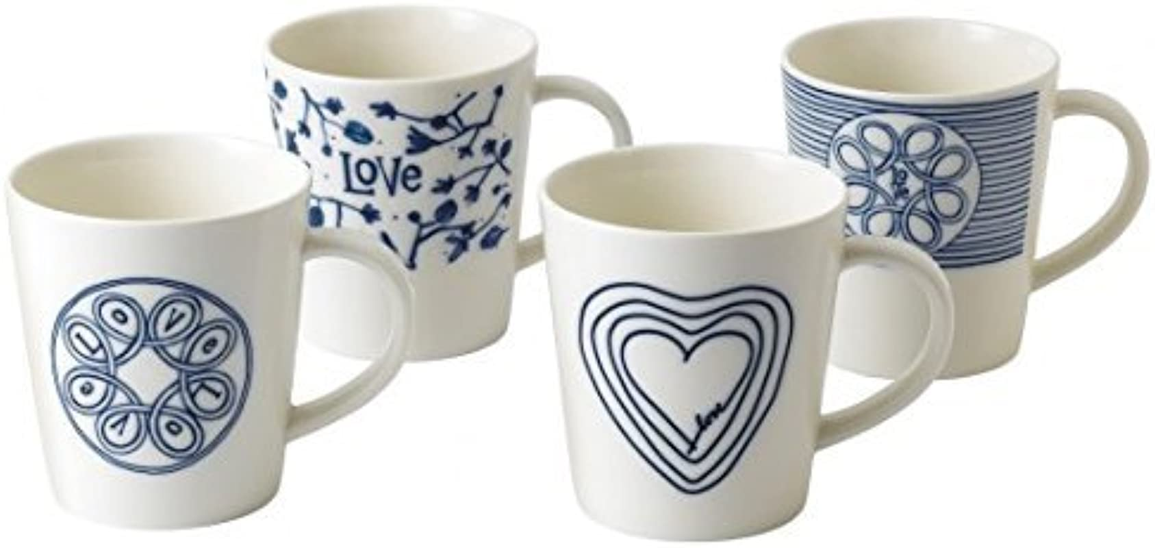 Blue Love Mugs Mixed Set Of 4 Ellen Degeneres Collection By Royal Doulton