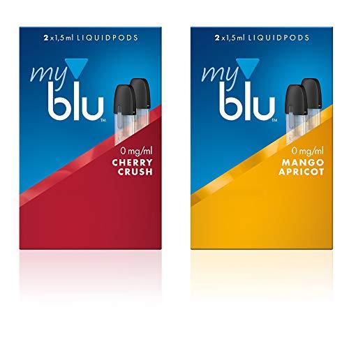 2 x Doppelset Liquids Geschmack Cherry Crush und Mango Apricot - Ohne Nikotin - mit eingebautem Verdampfer für Elektronische Zigarette Myblu + Gratis LK-Trend & Style Hygieneschlüssel