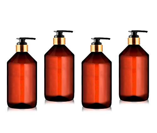 Botellas Ambar Vacias de Plastico con Dispensador Pompa para Jabon, Champu, Acondicionador, Aceite Esencial Aceite para Masajes Perfume Aromaterapia Lociones (4 x 250 ml)
