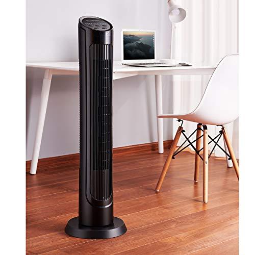 Ventilador OmniBreeze de Torre Oscilante 40 pulgadas, 4 velocidades y 3 modos de Brisa con Control Remoto, Silencioso para tu hogar u...
