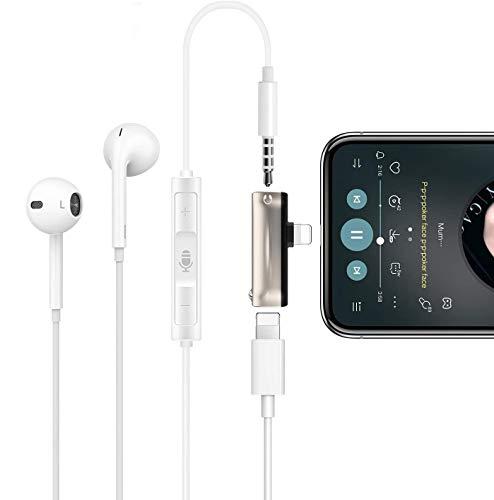 AUCHIKU Adaptateur Jack Compatible avec i-Phone 7/7Plus/8/8Plus/XS/11 Audio Splitter 3,5 mm [Audio + Recharge]