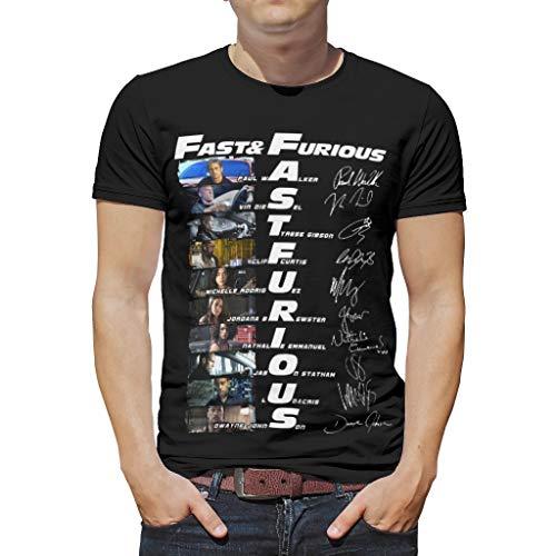 Herren T Shirt Fast and Furious Sommer Kurzarm Crew Neck 3D Printed Tee T-Shirt White 3XL