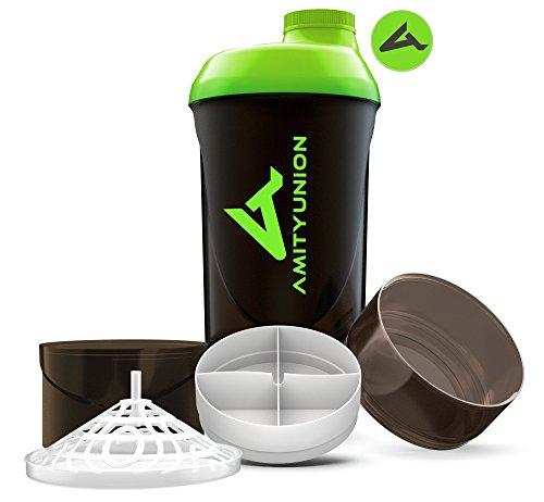 Eiweiß Shaker 700 ml - Das ORIGINAL mit 2 Kammern Set - Deluxe Protein Shaker auslaufsicher - BPA frei mit Sieb, Skala für BCCA Shakes, Gym Fitness Becher für Isolate, Sport Getränk - Schwarz Grün Cup