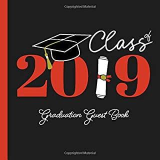 Graduation Guest Book Class of 2019: Guestbook with Card Style Guest Advice and Memory Jar + Bonus Scrapbooking Pages | Yearbook Style Party Keepsake for Graduate | Black Red