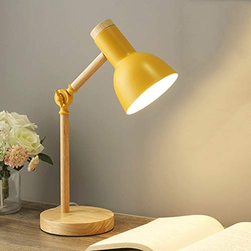 GZQDX Arte de Madera Hierro LED Plegable Escritorio Simple Lámpara Protección de los Ojos Lectura Lámpara Lámpara Sala de Estar Dormitorio Dormitorio Decoración (Color : Yellow)