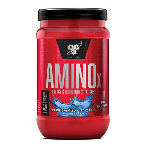 BSN Nutrition Amino X, Suplementos Deportivos BCAA Polvo con Aminoacidos Esenciales y Vitamina D, Aminoacidos BCAA para Musculacion, Frambuesa Azul, 30 Porciones, 435g
