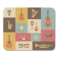マウスパッドジャズのクラシック音楽楽器レトロサックスアコーディオンアコースティックマウスパッドノートブック、デスクトップコンピューターマウスマット、オフィス用品