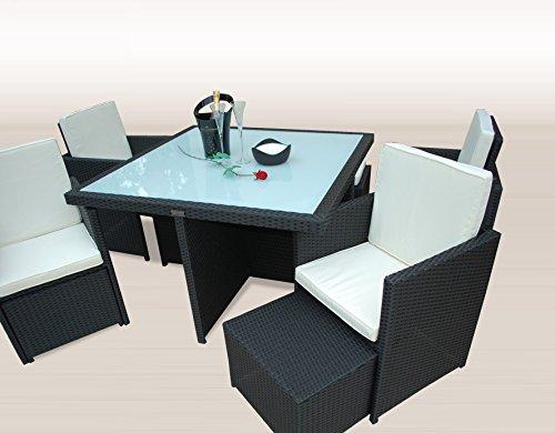 Ragnarök-Möbeldesign PolyRattan - DEUTSCHE Marke - EIGNENE Produktion - 8 Jahre GARANTIE auf UV-Beständigkeit Gartenmöbel Essgruppe Tisch + 4 Stühle & 4 Hocker 12 Polster Schwarz - 5