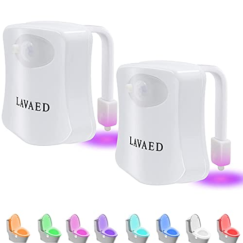 2 Pack Motion Activated Toilet Night Light, 8 Colors Changing LED Toilet Bowl Lights, Sensor Bathroom Seat Nightlight