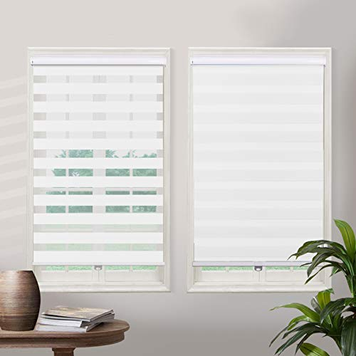 Cordless Zebra Roller Sheer Shades Blinds, White Custom Free Stop Dual Layer Window Shades with Valance, Sheer or Privacy Light Control, Day and Night Blinds for Windows, Doors, French Doors
