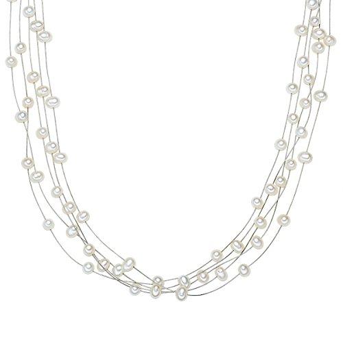 Valero Pearls Damen-Kette Hochwertige Süßwasser-Zuchtperlen in ca. 4 mm oval weiß 925 Sterling Silber 50 cm - Perlenkette mit echten Perlen mehrreihig 400311