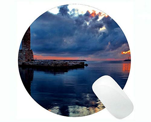 Yanteng Round Mouse pad,Lighthouse Sea Cliffs Water Away Road Gaming Mouse Pads