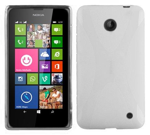 Cadorabo Cover per Nokia Lumia 630/635, semitrasparente trasparente, in silicone TPU flessibile, design X-Line