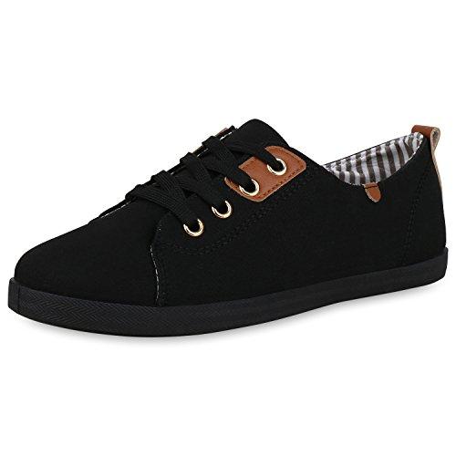 SCARPE VITA Damen Schuhe Sneaker Low Bequeme Basic Freizeit Schuhe Turnschuh Schnürer 166568 Schwarz 38