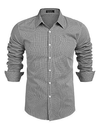 COOFANDY Herren Hemden Langarm Herren Hemd Trachtenhemd Langarm Aus Baumwolle Slim Fit Business Freizeit