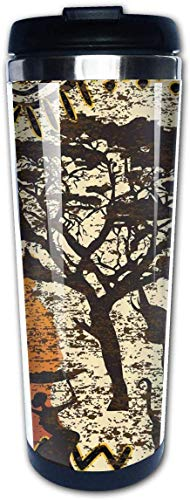 Afrikaanse Dieren Safari Oude Etnische Boheemse Koffie Bekers Roestvrij Staal Water Fles Cup Travel Mok Koffie Tumbler voor Vrouwen/Mannen/Kinderen/Tieners/Volwassenen Thuis Outdoor