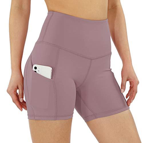 ODODOS Women's 5' High Waist Bike Shorts with Pockets Workout Sports Athletic Running Biker Yoga Shorts, Lavender, Large