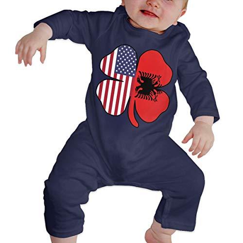 Mri-le1 Baby Boy Girl Long Sleeve Jumpsuit American Albanian Flag Shamrock Baby Rompers Navy